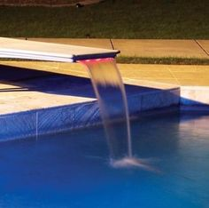 Inter-Fab Edgewater Diving Board Waterfall with LED Lighting tropical outdoor products Tropical Backyard, Backyard Landscaping, Diving Board, Pool Accessories, Dream Pools, Perfect World, In Ground Pools, Cool Pools, Pool Designs