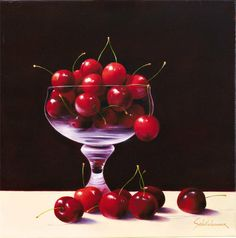 Cherries Artwork By Heinz Scholnhammer Oil Painting & Art Prints On Canvas For Sale Painter Artist, Oil Painting For Sale, Still Life Art, Oil Painting Reproductions, Fruit Art, Famous Artists, Canvas Art Prints, Cherry, Hand Painted