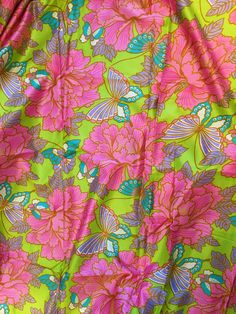 Vintage Fabric Mod Butterfly Print Hot Pink Lime Green  Polished Cotton 1960s 1970s 3 yards+ by perfectmomentpillows on Etsy