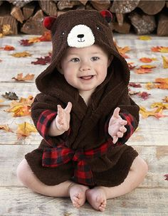Adorable Baby Spa Robe (Monogram Available) - Brown & Red Bear