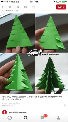 PAPER TREES Fun Way To Make Paper Christmas Trees With Step By Picture Instructions Great Idea For Giving Tree