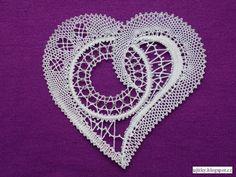 Bobbin Lace, Crochet Earrings, Lace Heart, Bobbin Lace Patterns, Bobbin Lacemaking