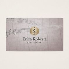 Music Teacher Gold Clef Logo Vintage Musical Business Card