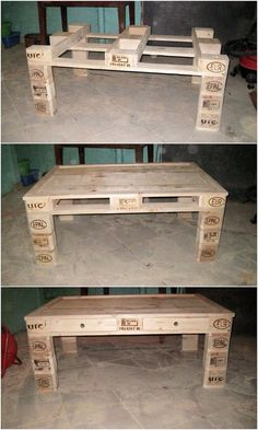 Kreative Ideen für die Umnutzung von Holzpaletten Creative ideas for converting wooden pallets It would turn out to be stunning if you set the wooden pallet as a design concept for the table graphics. Pallet Furniture Designs, Wooden Pallet Furniture, Diy Furniture Projects, Diy Pallet Projects, Wooden Pallets, Furniture Plans, Wood Projects, 1001 Pallets, Furniture Cleaning