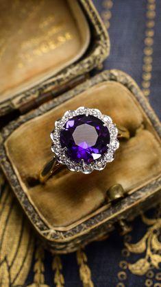 Art Deco Siberian Amethyst & Diamond Cluster Ring