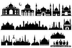 Mosque Silhouette, Silhouette Clip Art, Eid Crafts, Ramadan Crafts, Mini Toile, Mosque Vector, Aladin, Arabic Pattern, Islamic Patterns