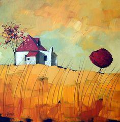 Glendine Karoo - Love the colors Landscape Art, Landscape Paintings, Tree Artwork, Art Textile, Naive Art, Art Graphique, Art Plastique, African Art, Oeuvre D'art
