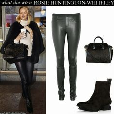Rosie Huntington-Whiteley in black fur jacket, black leather pants, leopard print bag and calf hair ankle boots Want Her Style #fashion #rosiehuntingtonwhiteley #model #style #outfit #winter #chic #leather #pants