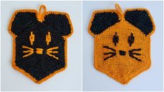 Let's welcome October with a quick spooky project (ok, just barely spooky, but cute): A spooky cat hot pad. Black Sparkle, Loom Weaving, Hot Pads, Chain Stitch, Fall Crafts, Single Crochet, Turtle, Cats, Projects