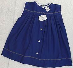 "Vintage baby clothes 1950s girls dress UNUSED 18"" Viyella Royalist Navy blue | £17"