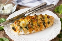 Spinach and Goat Cheese Hasselback Chicken by Simple Healthy Kitchen Poulet Hasselback, Hasselback Chicken, Goat Cheese Stuffed Chicken, Cheesy Chicken, Baked Chicken, Ways To Cook Chicken, Chicken Recipes Video, Recipe Chicken, Cooking Recipes