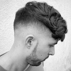 Medium length Hairstyles for Men: High Fade + Wavy Hair - harpmagazine-com