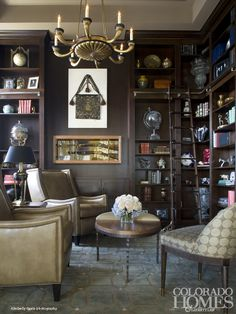 Library design by Beth Armijo; photo by Kimberly Gavin for @Colorado Homes & Lifestyles magazine http://coloradohomesmag.com