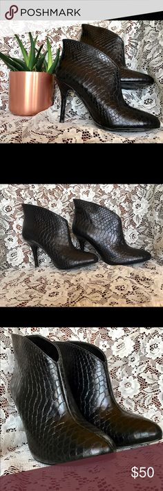 """Vince Camuto Snakeskin 'Caden' Bootie 🖤 Beautiful snakeskin embossed Vince Camuto booties 🖤 gently worn showing only faint signs of wear on the bottom of the shoes. The exterior is in pristine condition, you would never know they've been worn! Almond toe/angled opening/lightly padded footbed/covered stiletto heel. 3.5"""" heel     3.75"""" shaft height   Gorgeous shoes!! Offers welcome Shoes Ankle Boots & Booties"""