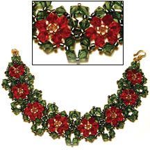 THIS IS A BEAUTIFUL HOLIDAY BRACELET Poinsettia Bracelet at Sova-Enterprises.com The perfect secret Santa gift.... This pattern is fully illustrated with detailed step-by-step instructions, ideal for beading beginners. If you are not fond of poinsettias, instead of the red crystals, use some white opal or light sapphire beads for a Magnolia or Forget-Me-Not bracelet.