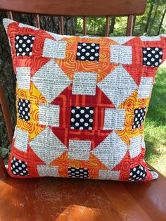 Modern Quilted Mini Churn Dash Pillow Cover by Kathy512 on Etsy, $55.00