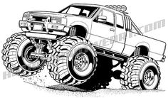 Ford clip art, Chevy clip art, car clip art, t shirt design, Harley Davidson clip art Monster Truck Coloring Pages, Cars Coloring Pages, Car Drawings, Cartoon Drawings, Classic Chevy Trucks, Lifted Chevy Trucks, Bmw M4 Cabrio, Harley Davidson, Truck Tattoo