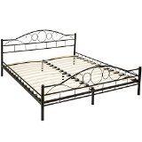 TecTake Lit en métal design cadre de lit  sommier à lattes - diverses modèles (180x200cm Noir)