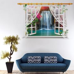 Chic 3D Window Waterfall Landscape Pattern Wall Sticker For Livingroom Bedroom Decoration