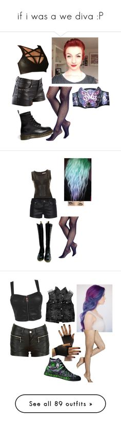 """if i was a we diva :P"" by psycho-alien-deer05 ❤ liked on Polyvore featuring Vince Camuto, Dr. Martens, WWE, Oh My Love, True Religion, We All Shine By MINKPINK, Converse, Hue, outfits and home"