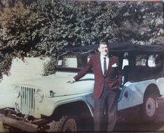 Ronald Reagan looking sharp with his new Jeep CJ-6.