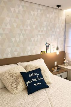 Home Bedroom, Bedroom Wall, Diy Bedroom Decor, Interior Simple, Feature Wall Bedroom, Home Room Design, Luxurious Bedrooms, New Room, House Rooms