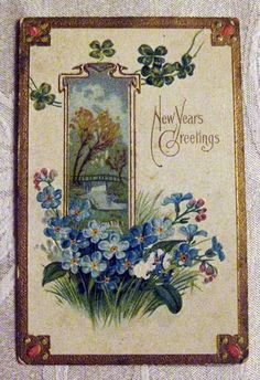 Happy New Year Vintage Cards, Vintage Images, Vintage Happy New Year, Vintage Christmas, Victorian Christmas, Auld Lang Syne, New Year Wishes, Old Postcards, Cool Cards