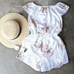 reverse - off the shoulder floral romper - shophearts - 1