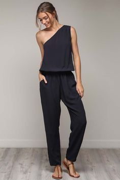 41d8517e60 Arianna One Shoulder Jumpsuit : Black – GOZON Boutique Jumpsuit, Dresses,  Fashion, Overalls