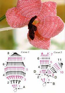 lexyskreativblog: Orchidee häkeln - Anleitung / Orchids chrochet Pattern