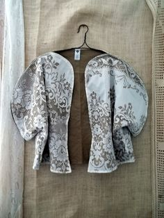 Vintage Lace and Linen Jacket or opera coat kimono from Bayou Salvage