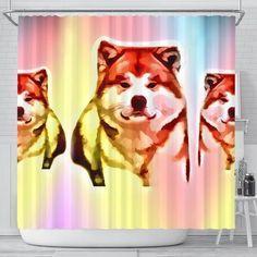Colorful Akita Dog Print Shower Curtain Free Shipping