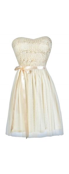 Standing Out Dimensional Crochet Tulle Dress in Cream www.lilyboutique.com: