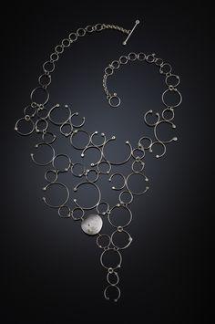 "Necklace | Kristin Mitsu Shiga.  ""Revolution""  Sterling, 18K gold, diamond"