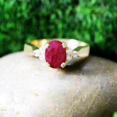 Ruby and Diamond Ring Solid Yellow Gold by StonesandGold on Etsy