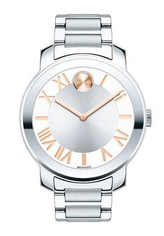 Movado Bold Luxe SWISS Stainless Steel Rose Gold Accent Ladies Watch (3600196)