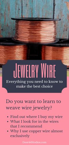 Beading Wire: Everything You Need To Know To Make The Best Choice Door 44 Studios - DIY Schmuck Inspiration Wire Jewelry Making, Jewelry Making Tutorials, Jewelry Making Supplies, Wire Wrapped Jewelry, Make Jewelry, Jewellery Making, Wire Jewellery, Jewellery Shops, Jewlery