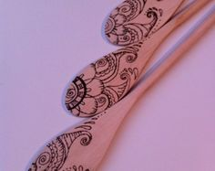 3 custom flower moth spoons wood burned arts by burnedfurniture