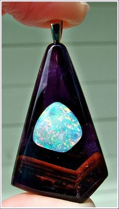 "This was an""Opals-On-Black""  opal & amethyst pendant - one of our past jewelry creations! .#opal #jewelry #australia"