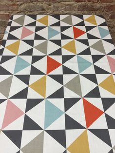 Tablecloth with gray pink yellow orange blue and white triangles, geometric triangle tablecloth, table runner by SiKriDream on Etsy