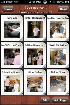 Going to a Restaurant Social Skills Stories   Special Needs App - i See-quence… Going to a Restaurant is an application providing a template for you to create photo social skills stories for individuals that need support in understanding the process of going to a restaurant. Thirty six icons with real picture images are used to illustrate the sequence of events. Each page can be individualized for the user by importing personal photos, add text and audio.