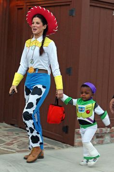 Sandra Bullock and son Louis as Toy Story's Jessie and Buzz