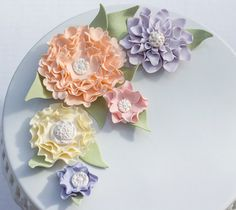Large assorted fondant flowers with brooch by SeasonablyAdorned