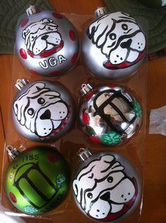 Hand painted UGA Christmas ornaments...