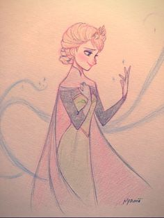 Disney Love Drawing This Is Really Good Frozen Drawings, Cute Disney Drawings, Disney Princess Drawings, Disney Sketches, Love Drawings, Cartoon Drawings, Drawing Sketches, Arte Disney, Disney Fan Art