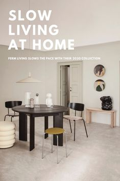 SS20 Ferm Living - Embracing the concept of low living - Hege in France Scandinavian Interior Design blog #fermliving #scandinavianliving #beigeaesthetics Beige Toned dining room with Black accents.