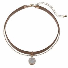 Glittery Disc Double Strand Choker Necklace, Brown