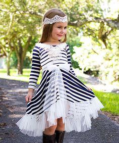 ae4ea0f2e7d8 Mia Belle Baby Navy   Cream Stripe Twirl Dress - Toddler   Girls