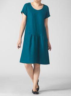 PLUS Clothing - Linen Short Sleeve Calf-Length Dress