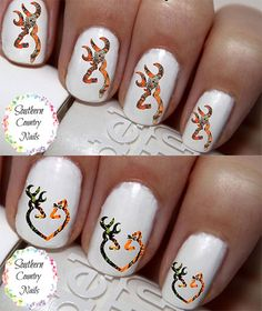 Camo Orange Deer Heart  Nail Art Decals by SouthernCountryNails
